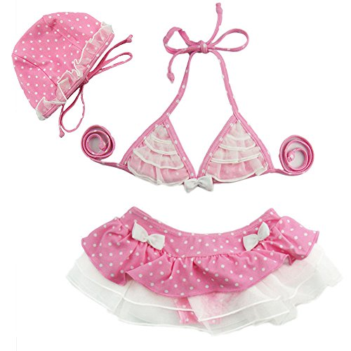 Baby Mädchen Kinder Kleinkinder Bikini Sets Leopard Rüschen Tutu Bademode Cute Polka Dots Bikini Neckholder Tankini 3 Set Badeanzug Badeanzug Beachwear Geschenk oben + unten + Hat (Höschen 3-teiliges Rüschen)