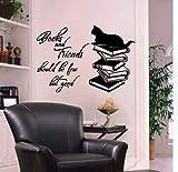 Qhrdp Libri E Amici Dovrebbero Essere Pochi, Ma Buone Lettere Murali Stickers Art Vinyl Quotes Dicendo Stickers Murali Per La Decorazione Domestica 38X56Cm