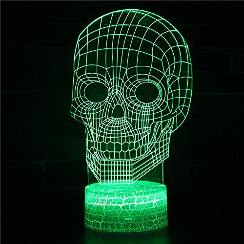 Halloween Skull 3D Small Night Light Colorful Touch Remote Control Light Creative Table Light Gift Light