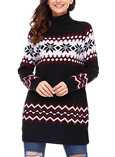 trickpullover Rollkragen Weihnachtspullover Mit Schneeflocken Muster Schwarz Small (Schneeflocken-pullover)