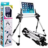 Tablet Stand - PEMOTech Universal Tablet Mount Holder Floor Desk Sofa Bed Stand Adjustable Portable Foldable for Tablet iPad 2 3 4 5, Iphone 6 / 6 Plus / 6s / 6s Plus, Samsung Galaxy s7 / s7 Edge, Perfect for Car, Bedroom, Kitchen, Office, Bathroom