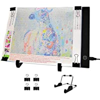 Jusoney Diamond Painting A4 LED Lichtkasten Dimmable Light Board Kit für 5D Diamant Malerei Künstler Kunst Skizzieren Power von USB mit Abnehmbaren Ständer und Clips