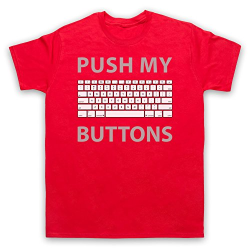 Push My Buttons Computer Geek Herren T-Shirt Rot