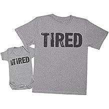 TiRojo & Not TiRojo - regalo para padres y bebés en un cuerpo para bebés y una camiseta de hombre a juego