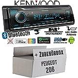 Peugeot 206 - Autoradio Radio Kenwood KMM-BT504DAB - DAB+ | Bluetooth | iPhone/Android | Spotify | VarioColor - Einbauzubehör - Einbauset
