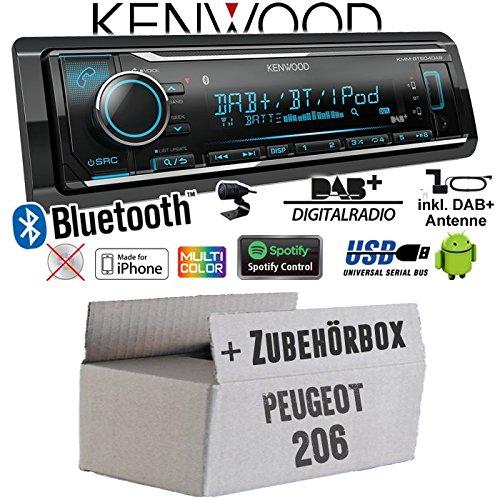 Autoradio Radio Kenwood KMM-BT504DAB - DAB+ | Bluetooth | iPhone/Android | Spotify | VarioColor - Einbauzubehör - Einbauset für Peugeot 206 - JUST SOUND best choice for caraudio (Beste Radio)