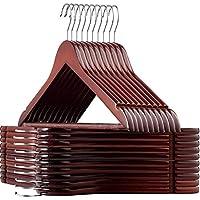 ZOBER High-Grade Wooden Hangers - Premium Smooth Finish, Durable Wooden Coat Hanger/Clothes Hangers, 360° Hook & Dress Notches - Cherry Wood, Suit Hangers with Non Slip Trouser Bar