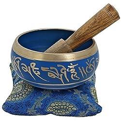 YouCan medio tibetana cantando cuencos Set Azul con cojín (almohada) y Stick (mazo)–Meditación Cuenco Tibetano