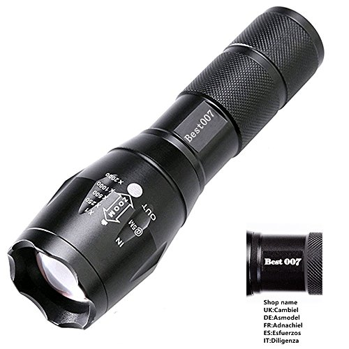 Best 007 CREE XM-L T6, Adjustable Focus LED Flashlight, White Beam Zoomable Flashlight High Power Torch, Waterproof Light