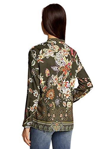 oodji Collection Femme Chemisier Ample avec Imprimé Floral Vert (6819F)