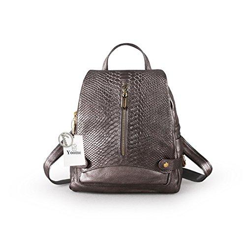 Yoome coccodrillo in pelle di vitello zaino borsa grande capacità tracolla borsa delle donne scuola Bookbag per bambine antico nastro