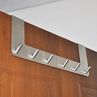 Sumnacon Over the Door Hooks - 6 Hooks Over The Door Organizer Rack, Stainless Steel Towel Door Hanger, Bathroom Door Hook, Suitable 1.5