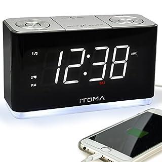 Radiowecker, FM Digital-Funkuhr Bedside Wecker mit Nachtlicht, Dual-Alarms, Dimmer Steuerung, 1,4-Zoll große weiße LED-Anzeige, USB-Lade-Auxiliary-Eingang Backup-Batterie (CKS507)