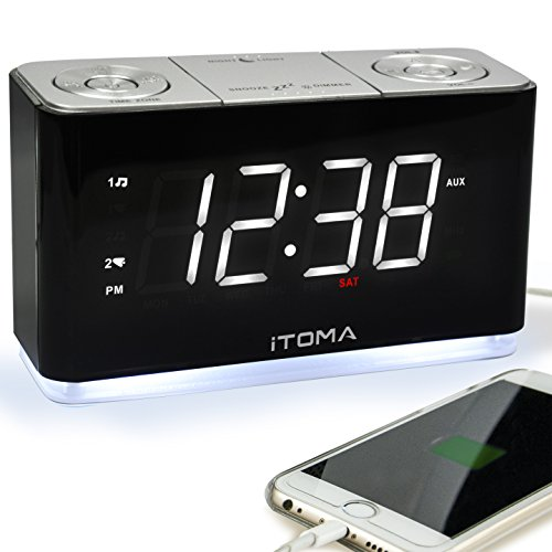 ital-Funkuhr Bedside Wecker mit Nachtlicht, Dual-Alarms, Dimmer Steuerung, 1,4-Zoll große weiße LED-Anzeige, USB-Lade-Auxiliary-Eingang Backup-Batterie (iTOMA CKS507) ()