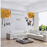 PANDABOOM 3D DIY Abnehmbare Straßenlaterne Stuhl Ahorn Wandaufkleber Wandtattoo Fahrrad Wand Papier Vinyl Ahorn Baum Aufkleber 60X90 cm