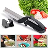 Diswa Stainless Steel 2 In 1 Kitchen Knife With Cutting Board Scissor Slicer Veggie Cutter, Standard (Silver, Clever Cutter_2)