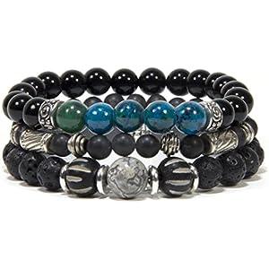 Boho Handgemacht Schmuck 3in1 Bracelet Lava-Azurite Natursteinperle Freuenarmband Männerarmband Geschenk für sie Geschenk für ihn