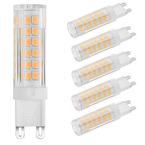 ZHMA 5er Pack G9 LED lampe 5W, Ersatz für 40W Halogen Lampen, 3000K Warmweiß G9 Birnen, Leds 75 SMD, 360 Grad Abstrahlwinkel AC220V 400lm LED-Energiesparlampen Licht Birne
