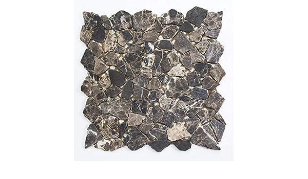 Mosaik Fliese Marmor Naturstein Bruch Ciot Impala braun geflammt MOS44-1306