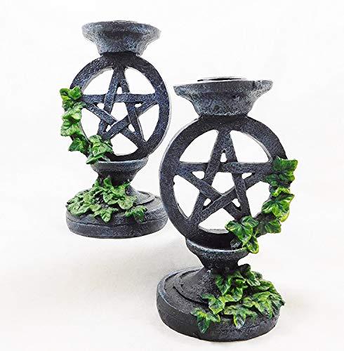 Wicca Gothic Pentagramm Leuchter Set 2Kerzenhalter Wicca Witchcraft | 5177