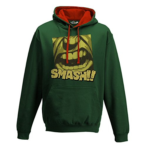 KiarenzaFD Sudadera Capucha Bicolor Hombre Smash Superhero Paint superhéroes Hulk, Bottle Green-Fire Red, XX-Large