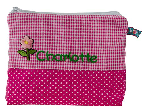 Mein-Name Kinder Kulturtasche mit Name in Pink 21x16 cm