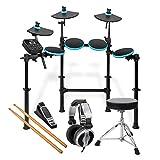 Alesis DM Lite Kit E-Drum Set mit Hocker, Kopfhörer und Sticks (elektronisches Schlagzeug, faltbares, vormontiertes Rack, LED Pads blau beleuchtet, 200 Sounds Drums und Becken, Pedale, Kabel, Netzteil) schwarz