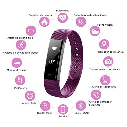 Pulsera Actividad Inteligente Bluetooth Móvil Impermeable Deportiva con Pulsómetro y Podómetro con Monitor de Frecuencia Cardiáca Monitor de Sueño y Calorías  para iphone  IOS y Android Purpura