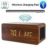 HUAQIMEI Digital Alarm Clock, Réveil de Charge sans Fil en Bois Affichage à LED Électronique Créatif Horloge en Bois silencieuse Haut-Parleur intégré