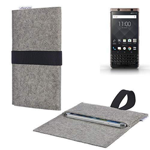 flat.design Handy Hülle Aveiro für BlackBerry KEYone Bronze Edition passgenau Handytasche Filz Tasche fair schwarz hellgrau
