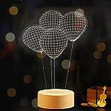 Y-Hui 3D poco di notte le luci LED 3D Rose Tanabata il giorno di San Valentino dono regalo di compleanno camera da letto Usb monitor a posto letto le lampade da scrivania, il palloncino