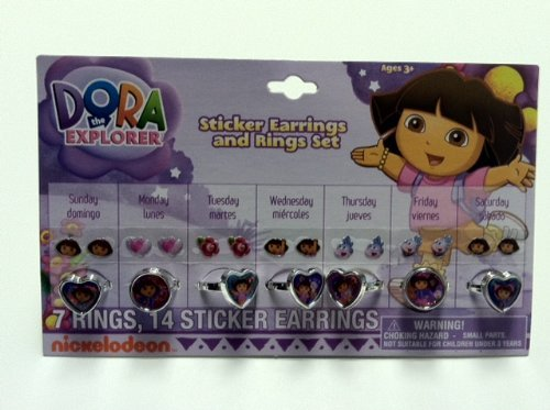 Nickelodeon Dora the Explorer 7 Day Ring and Stick on Earring Set by HER