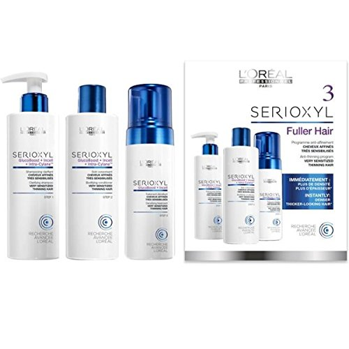 L'Oreal Expert Professionnel Serioxyl Kit de Conditionneur pour Cheveux Colorés 250 ml + Mousse pour Cheveux Colorés 125 ml + Shampooing pour Cheveux Colorés 250 ml 3 Pièces