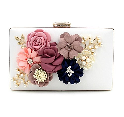 WYB Abendessen Bag/Flower Glasperlen Stickerei Clutch/DIAMANT-Tasche/Pearl Abendtasche/Party Messenger Bag Weiß