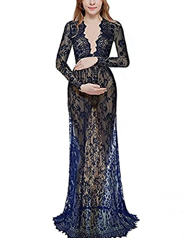 BigForest Robe Maternity Sexy V-Neck Longue Sleeve Lace See-through Longue Maxi Photography Dress Beach cover up