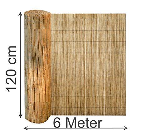 EXCOLO Schilfrohrmatte 120x600 cm Sichtschutz Zaun Schilfrohrmatte Windschutz Blickschutz