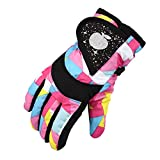 BiAi.LD Waterproof Winter Skiing Snowboarding Gloves Warm Mittens For Kids Full-Finger Gloves Strap for Sports, Skiing, Cycling (Pink)
