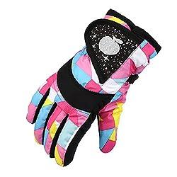 Fiittree Kinder Skifahren Handschuhe Skihandschuhe Schnee Handschuhe Outdoor Handschuhe Sport Handschuhe Winter Handschuhe für Kinder (Rosa)