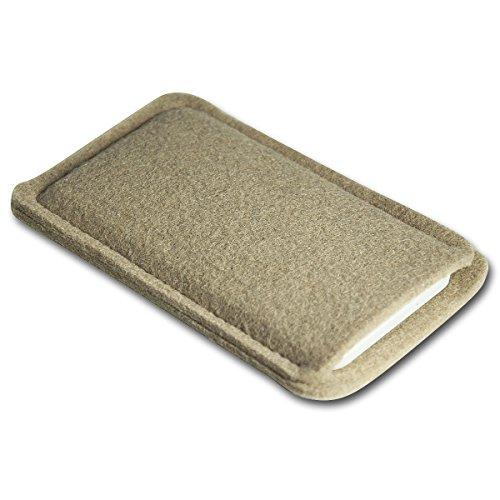 Filz Style Apple Iphone 7 Premium Filz Handy Tasche Hülle Etui passgenau für Apple Iphone 7 - Farbe schwarz beige