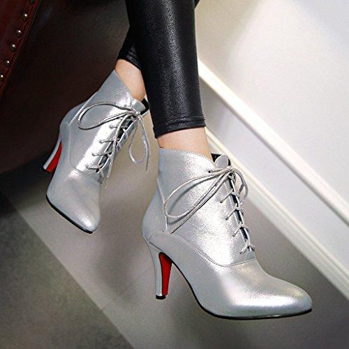 YE Damen modern high-heel Pointed Toe Ankle-Pumps mit Schnürsenkel und Stiletto Silber