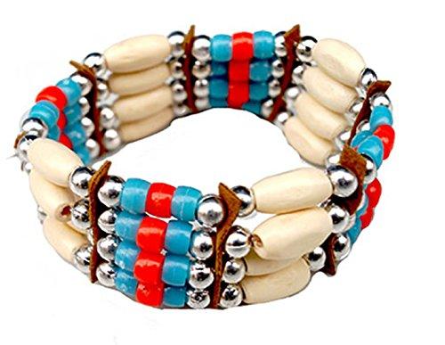 Halloweenia - Indianerschmuck Armband Kette Maya Indianerkostüm Perlen Hand, Mehrfarbig