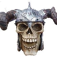 K&C Elmetto vichingo Horn Ram Skull demone Armatura Statua di