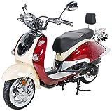 Znen Retro Roller ZN125T-H Motorroller 125cc Retroroller Scooter 125ccm Euro4 EFI Sportroller 85km/h (Burgundy/Creme)