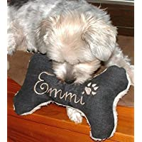 Hunde Spielzeug Kissen Knochen Hundeknochen Quitscher schwarz Größe XS S M L oder XL Name Wunschname Hundekissen