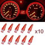 Ancdream 10x Ampoule LED Rouge T5 12V Pour Compteur Tableau De Bord Ampoule Lampe Voiture Feux