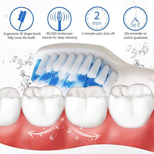 Elektrische Zahnbürste Tiefenreinigung Zahnarzt Empfohlene wiederaufladbare Sonic Zahnbürste IPX7 Wasserdichte Smart Timer 3 Ersatzköpfe Zungenreiniger von YASI(Weiß)