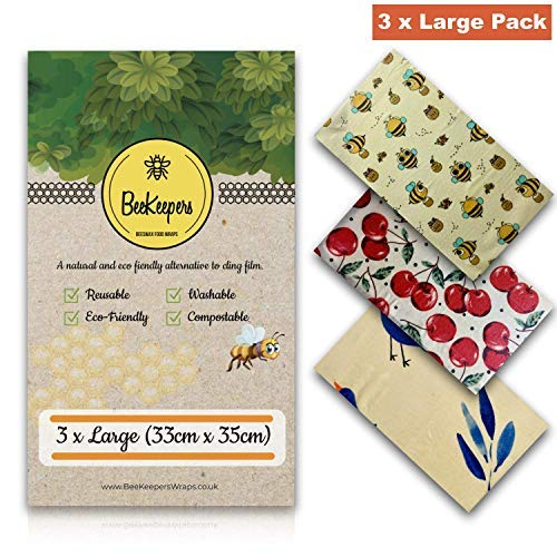 Archie Living Set of 3 Beeswax Wraps Made of Cotton, Beeswax