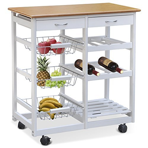Smallwise Trading Kitchen Trolley with Shelves amp; Drawers,Hostess Trolley,Kitchen Island,66x37x76cm,Solid Wood, varnished (White)