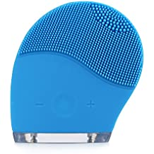 Facial Cleansing Brush, HailiCare Electric Waterproof Silicone Face Massager Anti-Aging Skin Cleanser and Deep Exfoliator Makeup Tool for Facial Polish and Scrub (Blue)