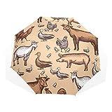 EZIOLY Reise-Regenschirm mit Bauernhof, nahtlos, leicht, UV-Schutz, Sonnenschirm, für Herren, Frauen und Kinder, Winddicht, faltbar, kompakt